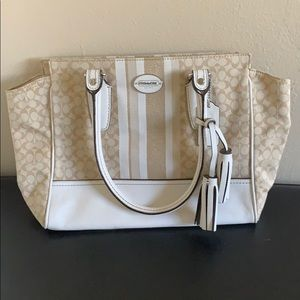 Leather and fabric Coach purse